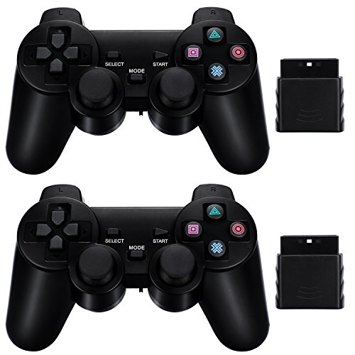 2-Pack-Wireless-Controller-24G-Compatible-with-Sony-Playstation-2-PS2-Black