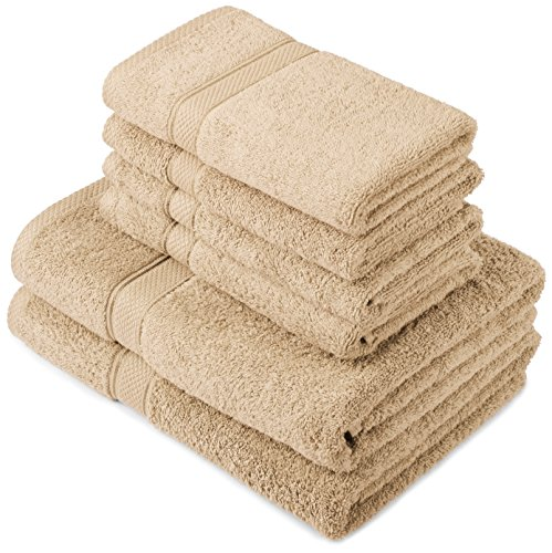 Pinzon by Amazon Lot deserviettes, 2 draps de bain et 4serviettes de bain en coton Marron Bois flotté