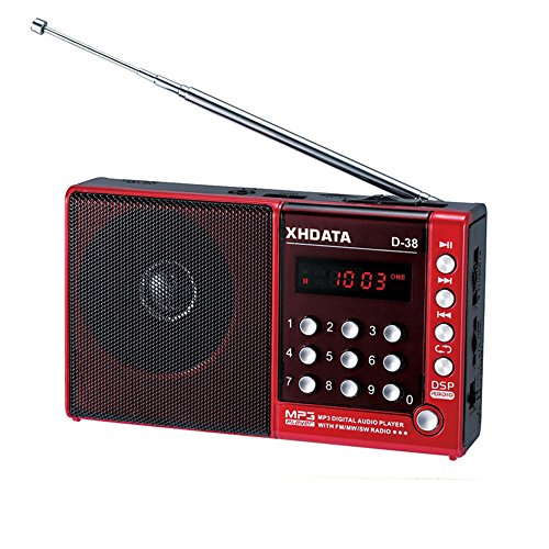 (XHDATA D-38 FM Stereo Radio DSP Full Band High-Sensitivity MP3 Digital Audio Player with FM/SW/MW Shortwave Radio(red))