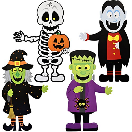 36 Halloween Decoration Hanging Wall Jointed Figures, Pack of 4 Signs Skeleton, Witch, Frankenstein, and Zombie Banners for Indoor and Outdoor Party Decor By Gift Boutique