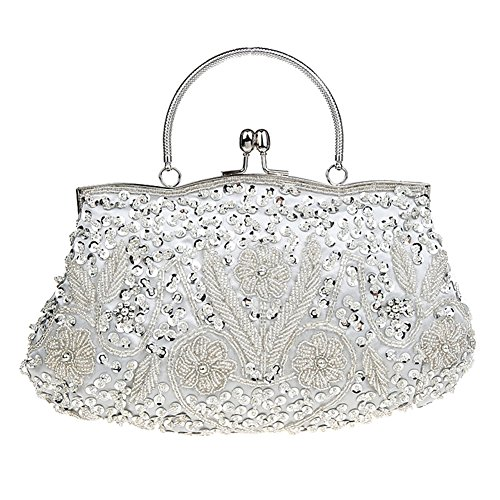 Albabara Satin Beaded Handmade Clutch Purse Evening Handbags,Silver