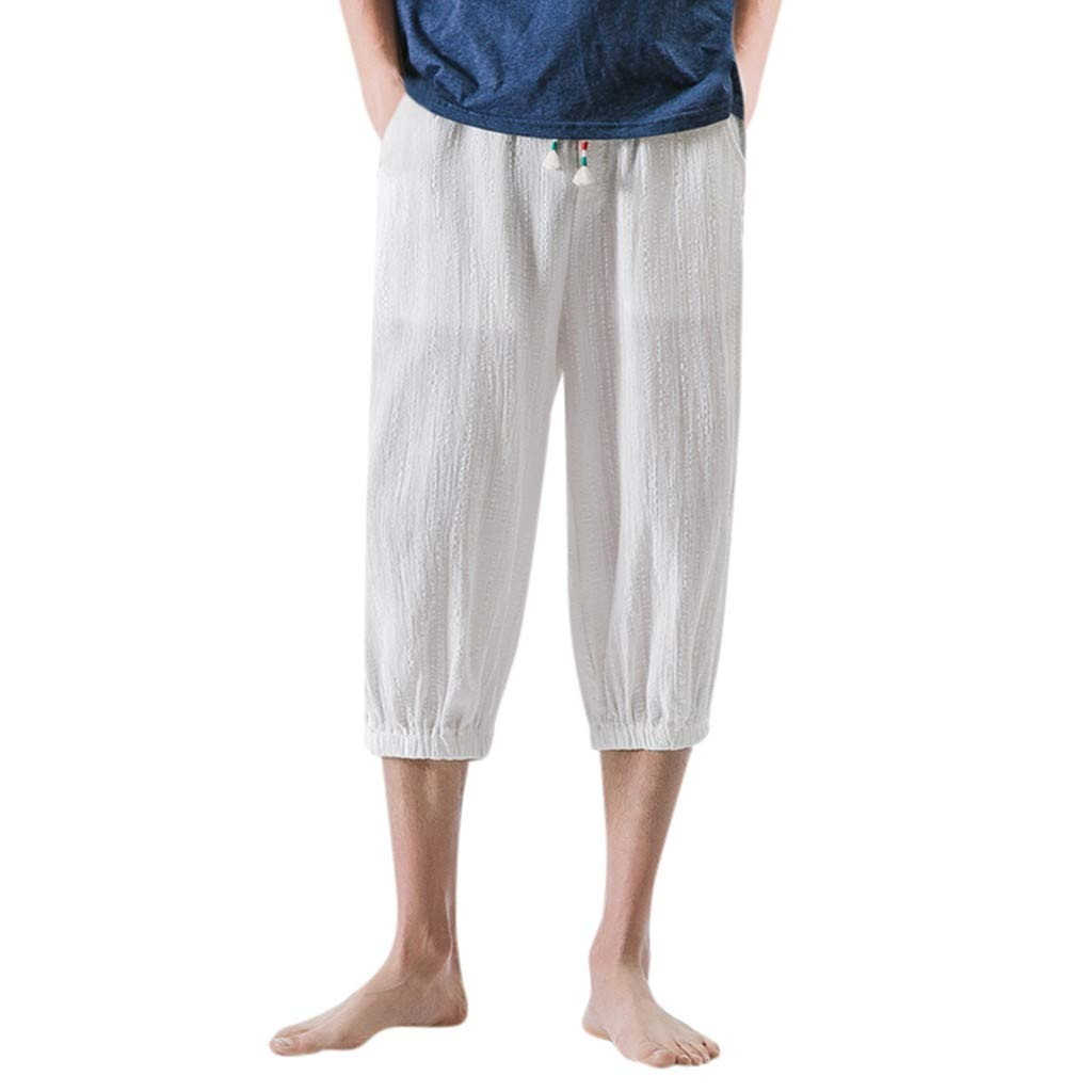 NUWFOR Men's Fashion Summer Casual Solid Drawstring Cotton Linen 3/4 Pants Trousers(White,US S Waist:27.6-28.7'')
