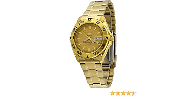 3068816f3 Amazon.com: Seiko 5 Sports #SNZB26J1 Men's Japan Gold Tone Stainless Steel  100M Automatic Dive Watc1 by Seiko Watches: Watches