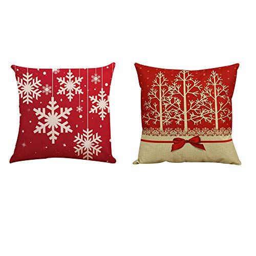 Merry Christmas Pillow Covers 18x18 Set of 2 Wakeu Tree Lace Bow Snowflake Throw Pillow Cases Sofa Couch Cushions Covers Holiday Home Decor New Year Easter Ornaments (red) (Snowflake Zippered Pillowcases)
