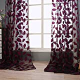 Sheer Curtains Panels for Livingroom,♥ Breathable Window Kitchen Shower Curtain 79x39 inch 2 Pcs,Beyonds Embroidery Leaf Ventilation Insulation Voile Treatment Patio Door Drapes
