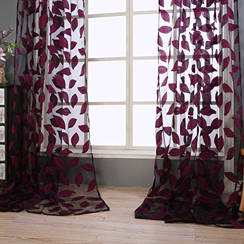 Sheer Curtains Panels for Livingroom,♥ Breathable Window Kitchen Shower Curtain 79x39 inch 2 Pcs,Beyonds Embroidery Leaf Ventilation Insulation Voile Treatment Patio Door - Wash Sheer Curtains