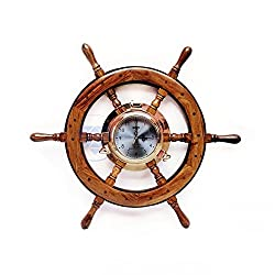 24 Premium Porthole Clock Ship Wheel With Solid Teak Finish - Captain Maritime Beach Home Decor Gift - Nagina International