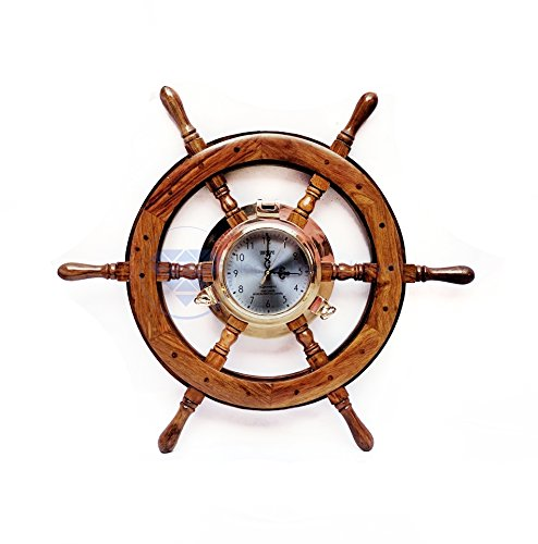 24'' Premium Porthole Clock Ship Wheel With Solid Teak Finish - Captain Maritime Beach Home Decor Gift - Nagina International by Nagina International