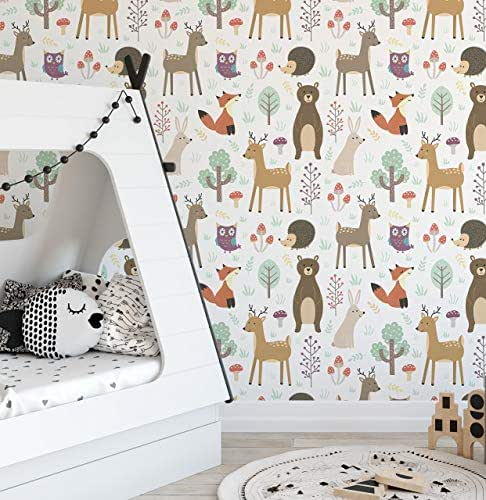 Amazon Com Forest Animals Removable Wallpaper Colorful Self Adhesive Accent Wall Paper For Nursery Kids Room Peel And Stick Woodland Critters Cc135 Handmade