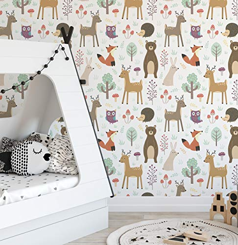 . Forest Animals Removable Wallpaper Colorful Self Adhesive Accent Wall Paper  for Nursery Kids Room Peel and Stick Woodland Critters CC135