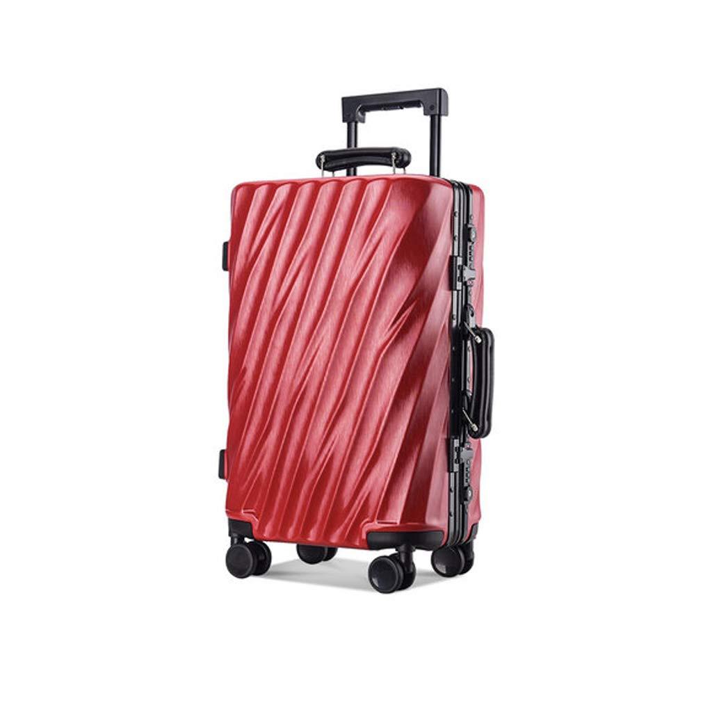 ビンテージスタイルのプルロッドスーツケースアルミフレームスーツケース学生パスワードスーツケース (色 : Red, サイズ さいず : 20INCH) 20INCH Red B07LBLG8XQ