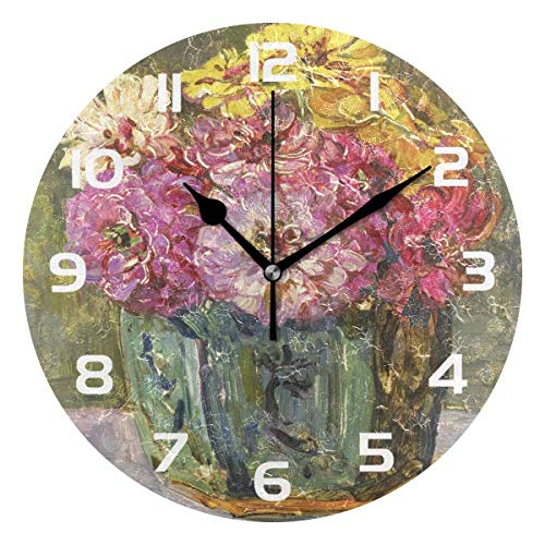 Dozili Flower Oil Painting Decorative Wooden Round Wall Clock Arabic Numerals Design Non Ticking Wall Clock Large for Bedrooms, Living Room, Bathroom