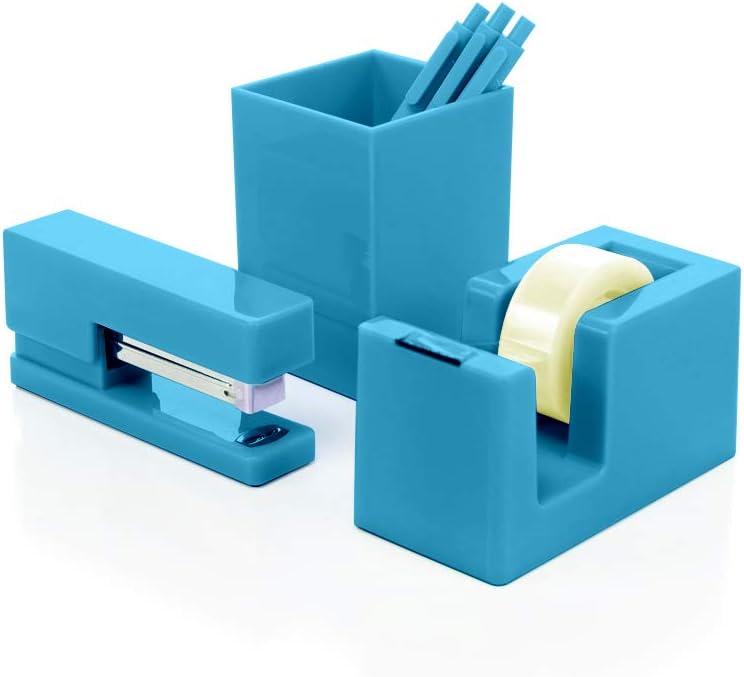 Heavy Duty Modern and Trendy 3-Piece Desktop Organizer Set Stapler Tape Dispenser and Pen Cup (Aqua Blue-3Pc)