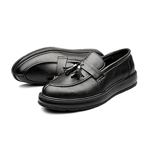 Easy Go Shopping Leather Shoes, Men's Leather Shoes Business PU Classic Slip-on Loafers Tassel Pendant Decoration Outsole Oxfords Black