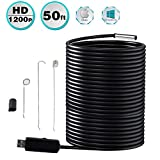 Seesi 50FT USB Endoscope Borescope 0.33 inch 15M HD 2MP 1200P Endoscopic Inspection Scope Waterproof Snake Camera with...