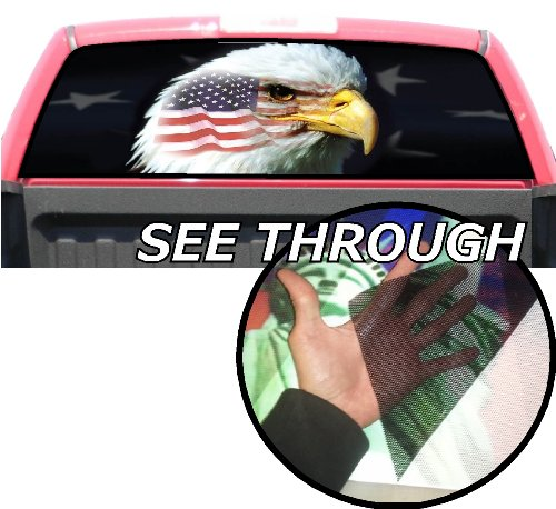 P181 American Flag Eagle Tint Rear Window Decal Wrap Graphic Perforated See Through Universal Size 65