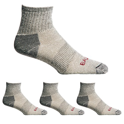 - Ballston Unisex Lightweight All Season 80% Merino Wool Quarter Crew Hiking Socks - 4 Pairs (Lunar Gray, Medium)