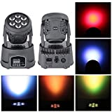 Moving beam Stage Light, Auto Effect LED RGBW Sound Control Activated DMX Master Slave Mini Flat Background 4in1 7 x 10W Moving Head Light,Party DJ KTV Disco Club Bar Par Wedding Concert Lifego