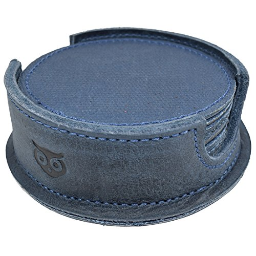 Durable Waxed Canvas and Leather Coasters for Table/Home/Office/Bar/Kitchen, Glass & Cups Stain Protection W/Deep Tray Holder (8-Pack) Handmade by Hide & Drink :: Blue Mar