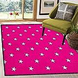 Hot Pink Geometric Area Rug,Symmetrical Pattern with White Stars Girlish Pattern Lovely Retro