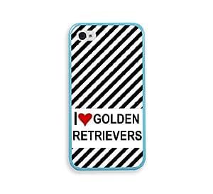 Love Heart Golden Retrievers Aqua Silicon Bumper iPhone 4 Case Fits iPhone 4 & iPhone 4S