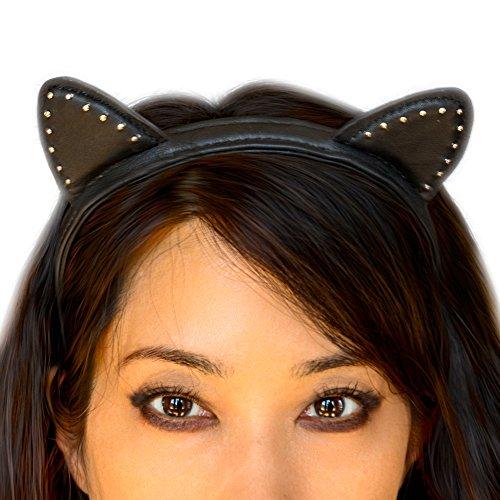 Miss Kitty Ariana Leather Stud Cat Ear Headwear Headband - Black