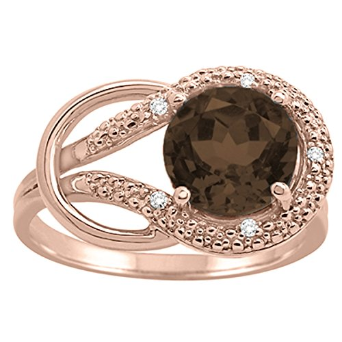 Smokey 10k Gold Quartz (Smokey Quartz and Diamond Love Knot Ring in 10K Rose Gold)