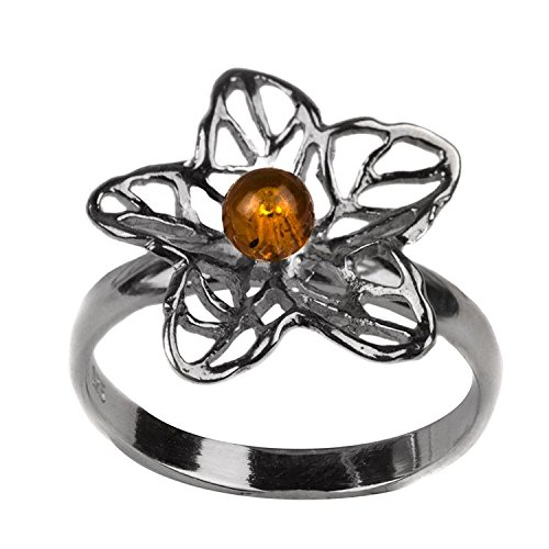 Sterling Silver Amber Crystal Flower Ring Amber Crystal Ring