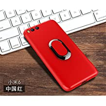 Xiaomi Mi 6 Case,DAYJOY Unique Design Soft TPU Rubber Silicone Shockproof Case Build-in Magnetic Car dashboard mounting disk and Metal ring Kickstand holder for Xiaomi Mi 6 (RED)