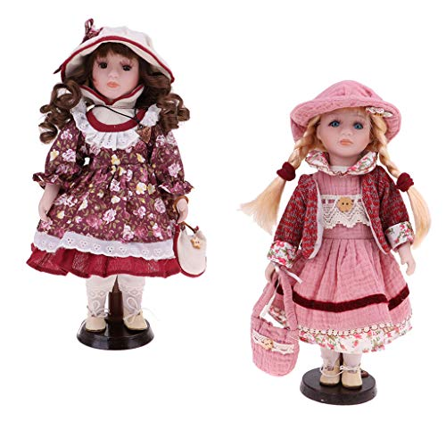 30cm Porcelain Doll with Display Stand, Pack of 2pcs, Victoria Style Girl Female Figures with Costumes Outfits, Dollhouse People Decoration -