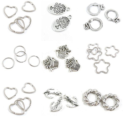 29 Pieces Antique Silver Tone Jewelry Making Charms Threaded Ring String Anchor Love Heart Keyring Key 30mm Star 34mm Watering Can Pot Round 20mm Snake Life Tree Oak Tag