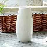 Vstylife Modern White Porcelain Vase European Stylish Classic Ceramic Table Vase Simple Home Garden Decoration Plant Flower Pot Container Ideal Decoration for Household Office Wedding Party