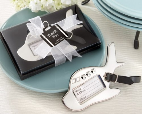 Airplane Luggage Tag in Gift Box with suitcase tag - Total 48 sets (1/4' Organza Ribbon Sheer)