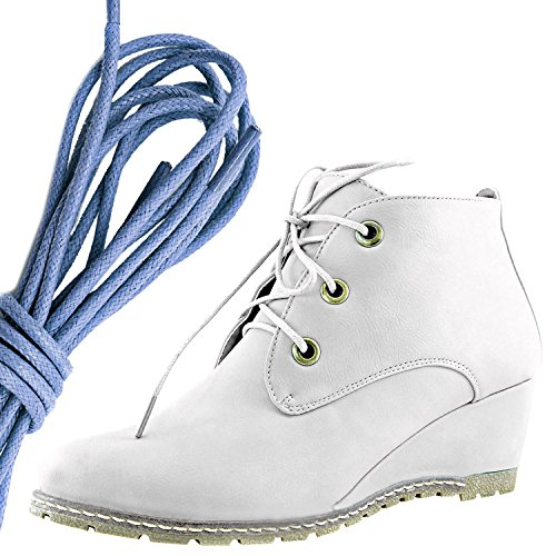 DailyShoes Womens Fashion Lace Up Round Toe Ankle High Oxford Wedge Bootie, Royal Blue White Pu