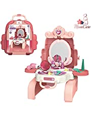 Beauty House Set for Kids MomCare care 2 in 1 Vanity Set Girls Toy Makeup Accessories Back Bag, Big Mirror, Cosmetics, Hair Dryer, Glowing Princess