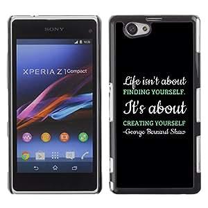 Qstar Arte & diseño plástico duro Fundas Cover Cubre Hard Case Cover para Sony Xperia Z1 Compact / Z1 Mini / D5503 ( Creating Creativity Black Message Text)