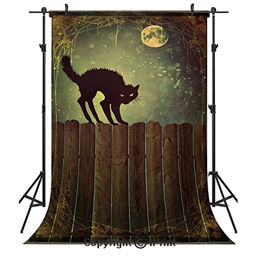 Halloween Photography Backdrops,Angry Aggressive Cat on Old Wood Fences at Night Framework Eerie Vintage Print Decorative,Birthday Party Seamless Photo Studio Booth Background Banner 5x7ft,Multicolor]()