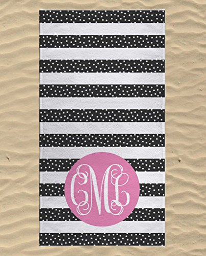 Monogrammed Beach Towel, Swimming Towels for Kids, Personalized Cute Beach Towels, Kids Beach Towels, Beach Bag Essentials, Microfiber Beach Flat Towel 60x30 ()