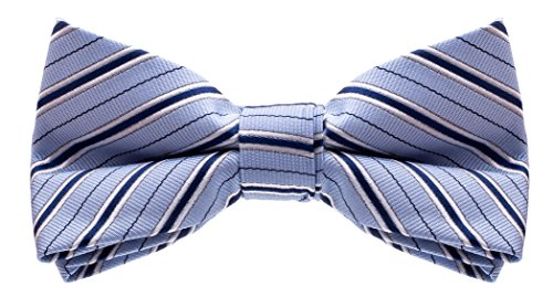 Woven Poly Mens Tie (Bowtie - Poly Woven - Striped Banded Bow Tie - Blue)