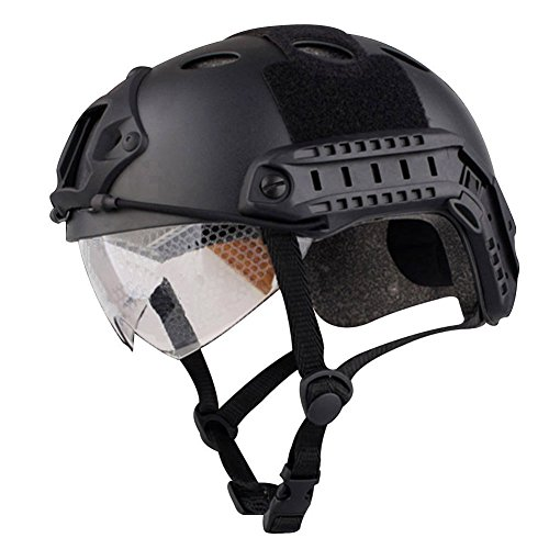 Rescue Helmet - Annong Airsoft SWAT Tactical Helmet Combat Fast PJ Helmet with Protective Goggles (Black)