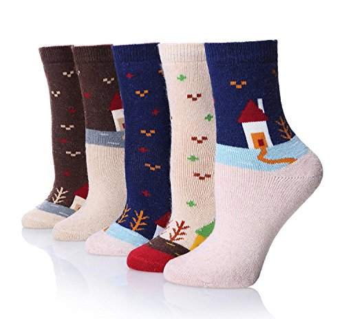 NUTEXROL Women's Vintage Thick Winter Soft Wool Warm Comfort Cozy Crew Socks 51zvDjrKWfL