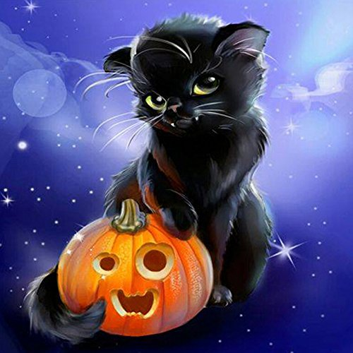 DIY Diamond Painting, 5D Full Square Drills Diamond Painting Kit for Adult Halloween Cats Animal Rhinestone Craft Art -