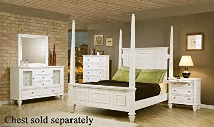 6e99a2bf8d22 Image Unavailable. Image not available for. Color  4pc California King Size  Poster Bedroom Set Cape Cod Style in White Finish