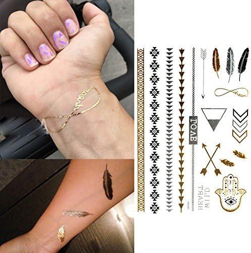 Oottati 6 Hojas Tatuajes Temporales Metálicos Golden Pluma Cruz ...