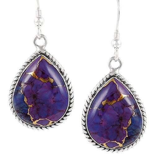 (Purple Turquoise Earrings Sterling Silver 925 (Choose Style) (Roped Teardrops))