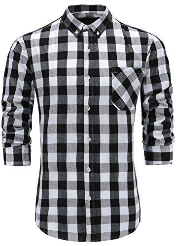 White Plaid Button - Emiqude Men's 100% Cotton Slim Fit Long Sleeve Plaid Button Down Dress Shirt XL Black White