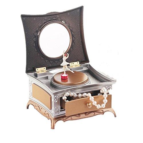 Joyero Bailarina hand-cranked Caja de música de maquillaje cajón joyería Caja carrossel Crank crousel Cajas de música...