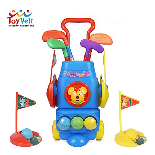 Toyvelt Kids Golf Club Set – Golf CartWith Wheels, 4 Colorful Golf...
