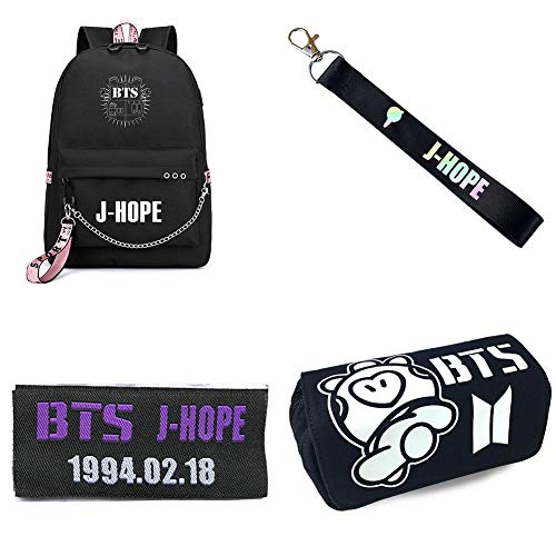 Youyouchard Kpop BTS Stationery Set, BTS Backpack/School Bag, Multi-Functional Zipper Stationery Case, Magic Embroidery Sticker with Keychain(H7-J-HOPE1) ()