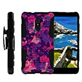 TurtleArmor | Compatible with ZTE Imperial Max Case | Max Duo Case | Kirk [Octo Guard] Resistant Combo Hybrid Armor Holster Clip Case Hard Shell Kickstand Camo - Pink Purple Flowers
